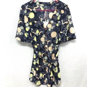 ModCloth blue floral tunic top size L NEW